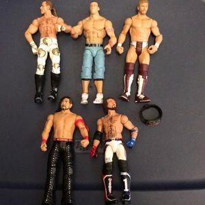 WWE Lot of 5 Assorted Figures Includes Belt